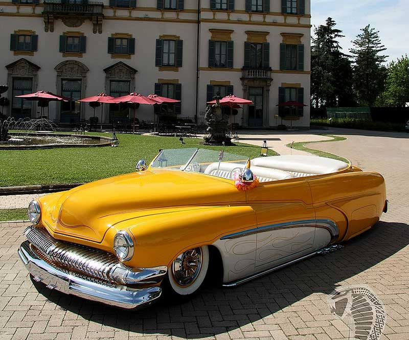 Dark yellow and white '51 Mercury built for Harold Saul.