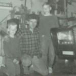 "Kid Dean (age 8) kneeling with Dean Jeffries and Green Hornet's ""Black Beauty"""