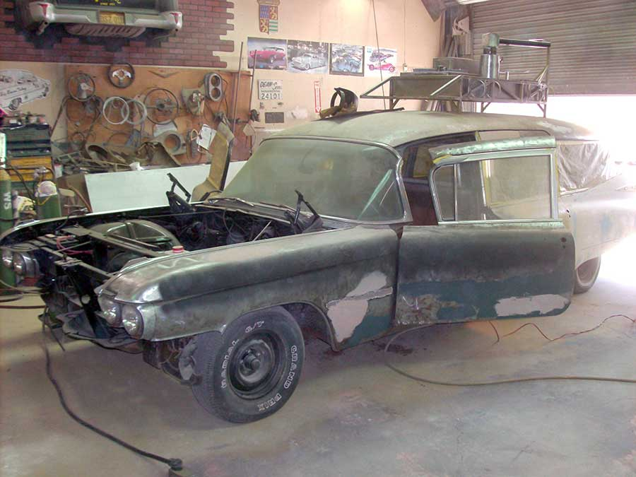 "'59 Cadillac ""Ghostbusters"" project early in the kustomization process"