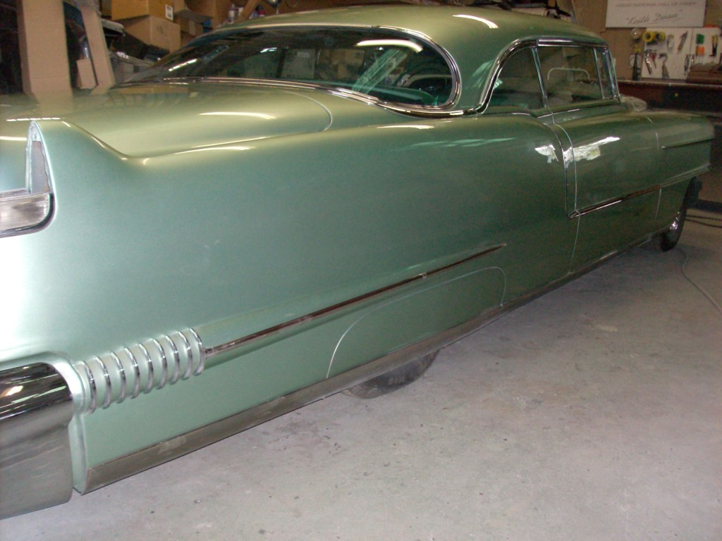 1956 Cadillac, owned by Bob Neppl.  Customization include chop top, shaved door handles and custom wheel skirts.
